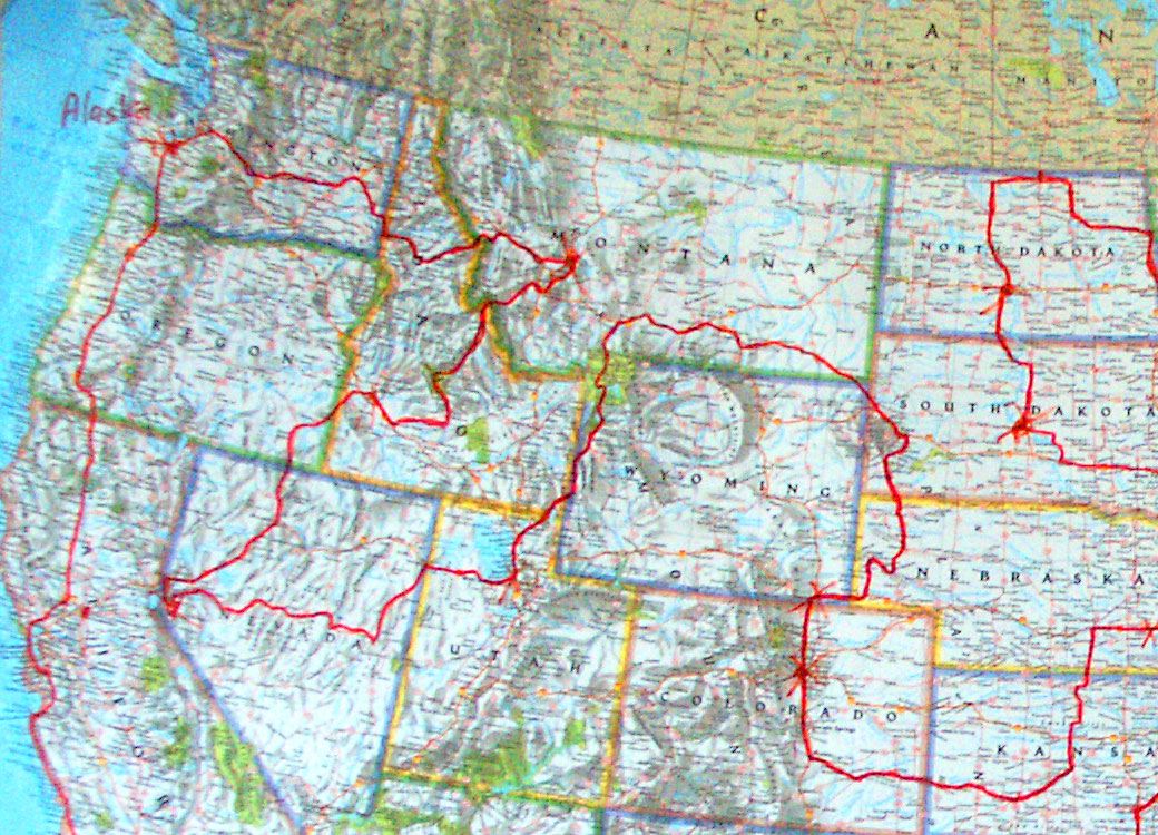 Enlargement of Northwest segment of All 50 road trip