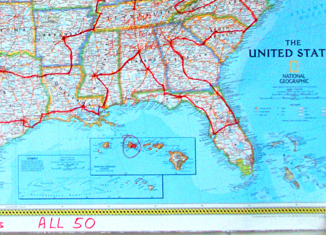Enlargement of Southeast segment of All 50 road trip